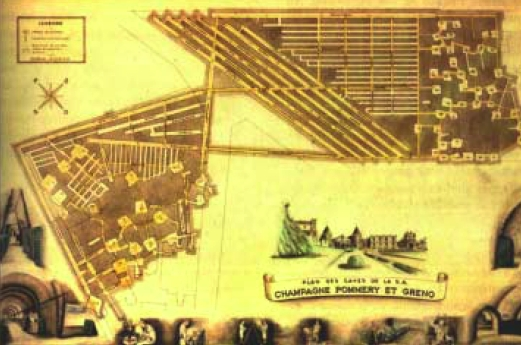 Plan des caves Pommery en 1900